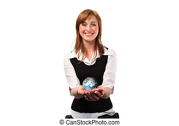Woman jolding a globe in her hand - Studio lite shot of a...