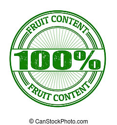 100% Fruit Content stamp - 100% Fruit Content grunge rubber...
