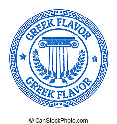 Greek Flavor stamp - Blue grunge rubber stamp with Greek...