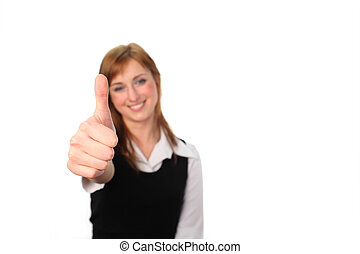 Business woman with her thumb up - Woman showing her thumb...