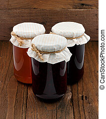 Set of three conserve jars - Traditional homemade Fruit Jam...