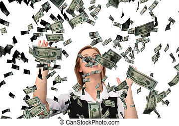 Business woman cathing Falling Dollars - 21Mp shot of a...