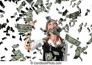 negócio, mulher, cathing, Queda, dólares