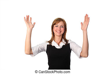 Business woman with hands in air