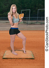 Woman Baseball Player - Beautiful woman baseball pitcher...