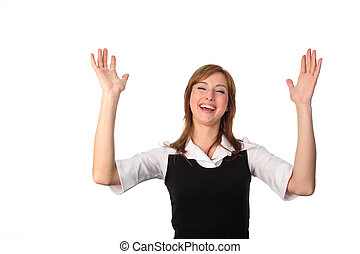 Woman with arms Raised - Young attractive Woman with arms...