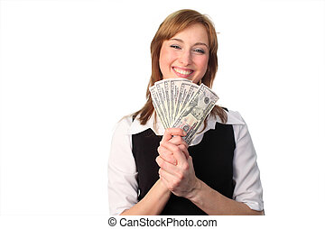 woman with Dollars - Business woman Holding Dollars