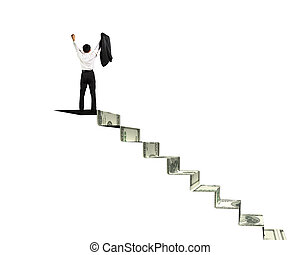 Man on top of money stairs cheering