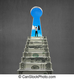 Man cheering on top of money stairs with key hole blue sky...
