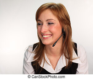 Woman on a Headset Talking - Business woman on a headset...