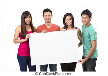 Group of Chinese people with a banner ad. Isolated on white...