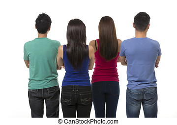 Back view of a Group of Asian friends. Isolated on a white...