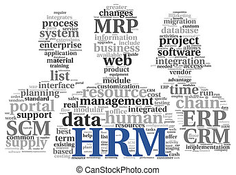 HRM Human resource management concept in tag cloudon white...
