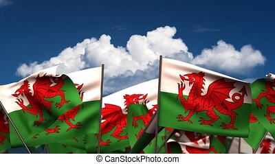 Waving Welsh Flags seamless alpha channel