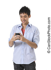 Happy Asian man using a smartphone. - Happy Chinese man...