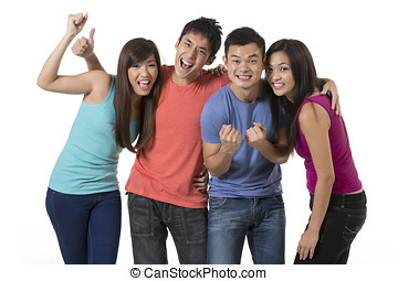 Happy group of Chinese friends. - Happy group of Chinese...