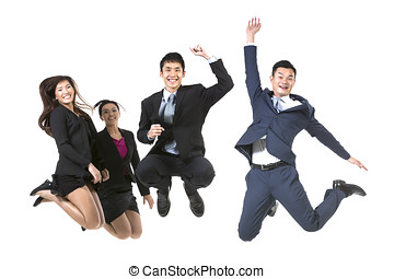 Tea, Of Chinese Business People jumping - Group Of Chinese...