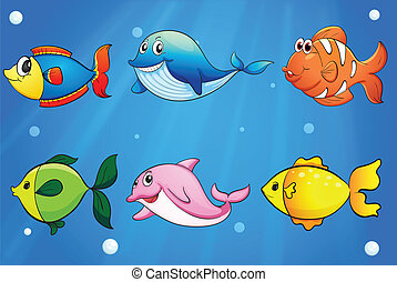 Six colorful and smiling fishes under the sea - Illustration...