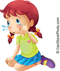 A young lady crying - Illustration of a young lady crying on...