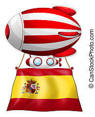 A floating balloon with the flag of Spain - Illustration of...