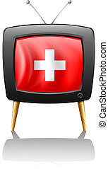 A television showing the flag of Switzerland - Illustration...