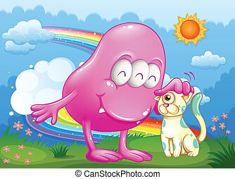 Illustration of a pink monster and a cat at the hilltop with...