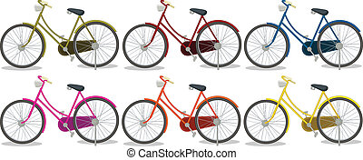 Six colorful bikes - Illustration of the six colorful bikes...