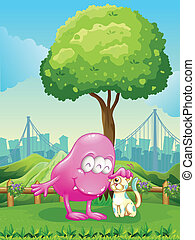 A pink monster and a monster cat near the tree -...
