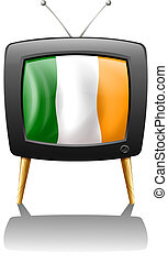 A television showing the flag of Ireland - Illustration of a...