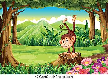 A monkey above the stump - Illustration of a monkey above...