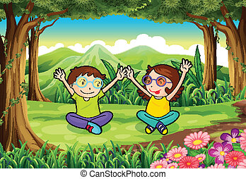 Two playful kids at the forest