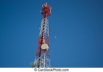 Telecommunications Towers and white moon