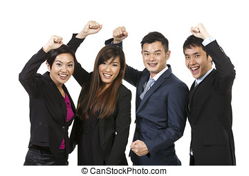 Happy Asian business team celebrating success.