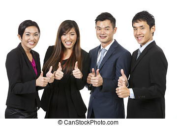 Happy Asian business team celebrating success. - Happy...