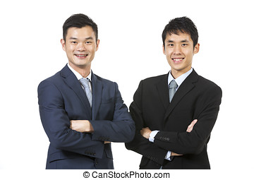 Portrait of a two Chinese Business men Isolated on a white...