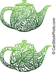 green tea concept, kettle with floral ornament