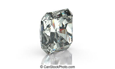 Radiant cut diamond on white (seamless)