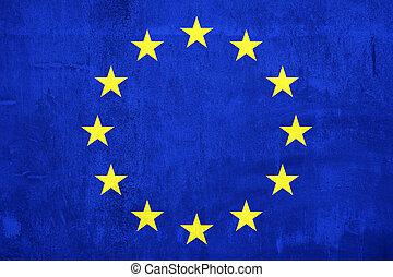 cimento, parede, pintura, Euro, bandeira