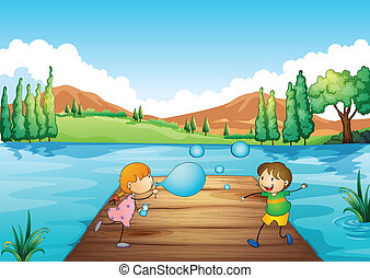 A young girl and boy playing with the bubbles - Illustration...