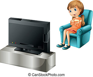 A young girl watching TV happily - Illustration of a young...