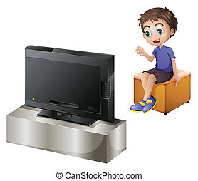 A young man watching TV - Illustration of a young man...