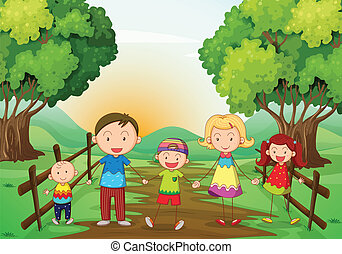 A happy family standing at the pathway - Illustration of a...