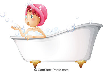 A young lady at the bathtub - Illustration of a young lady...