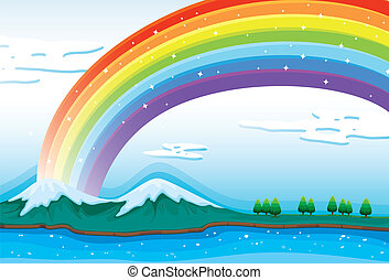 A beautiful rainbow in the sky - Illustration of a beautiful...