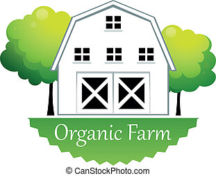 An organic farm label with a wooden house