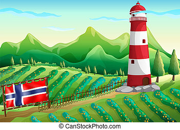 The flag of Norway at the farm