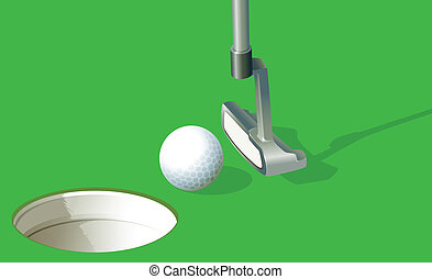 A golf ball near the hole - Illustration of a golf ball near...