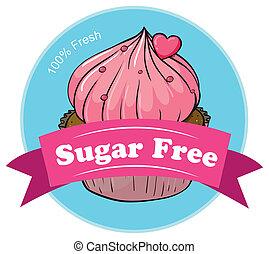 A sugar free label with a fresh cupcake