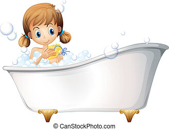 A girl on the bathtub - Illustration of a girl on the...