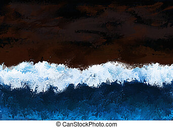Breaking wave - Painting of a high wave breaking with dark...